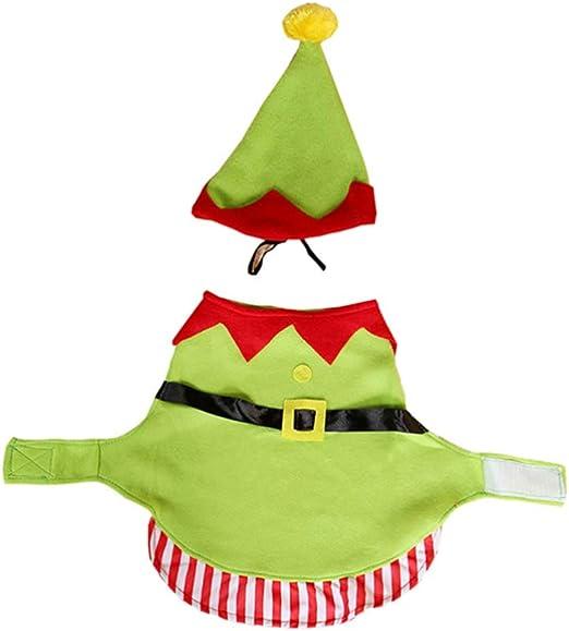 Holibanna disfraz de elfo para perro con sombrero de Papá Noel ...