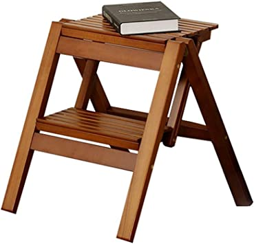 Taburete plegable de altura, Escalera portátil de madera de 2 peldaños con tapete antideslizante, Soporte de flores Little Mazza, Para huerta casera (color : Café): Amazon.es: Bricolaje y herramientas