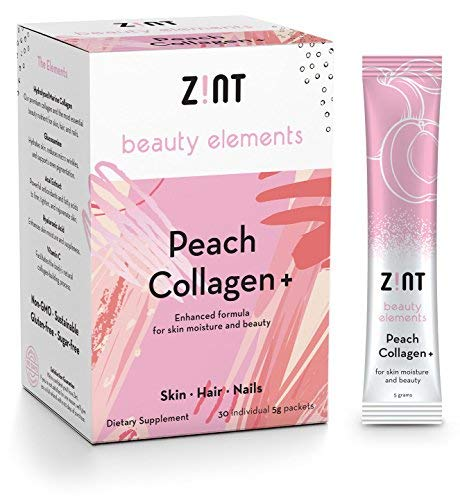 Zint Sweet Collagen Powder Beauty Drink Mix (Peach): Sugar-Free Collagen Peptides Drink w/ Glucosamine, Hyaluronic Acid, Vitamin C, Acai Extract (30 5g Packets) (Best Collagen Drink For Skin)