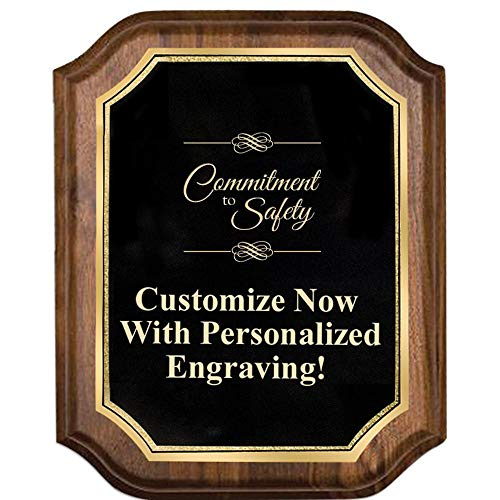 Custom Engraved Walnut Lifetime Plaques, 8x10 Personalized Commitment to Safety Plaque with Gold Trim and Up to 5 Lines of Engraving Included Prime