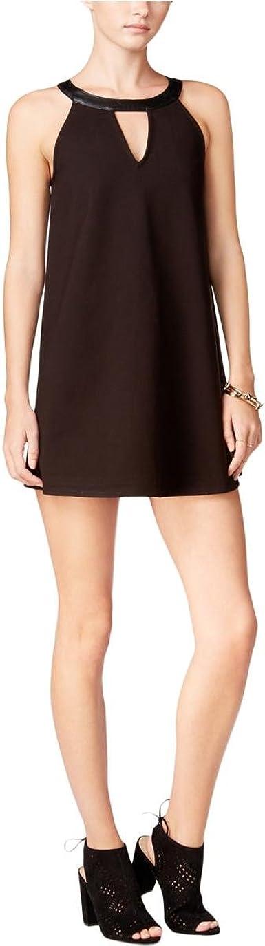 FAUX LEATHER MINI SHIFT DRESS
