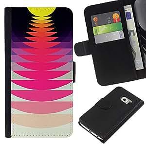 Planetar® Modelo colorido cuero carpeta tirón caso cubierta piel Holster Funda protección Para Samsung Galaxy S6 / SM-G920 EDGE ( Music Record Sound Sunset Pink Yellow )