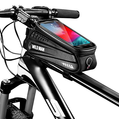Epessa Bike Phone Front Frame Bag,Bicycle Top Tube Phone Mount Pack with Touch Screen for Phone Below 6.5″|Hard Housing|Waterproof |Large Capacity