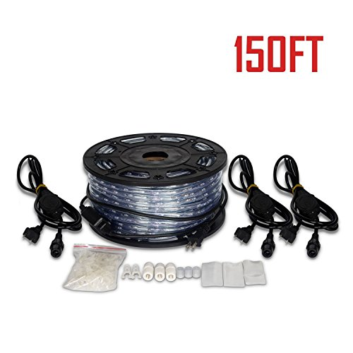 Ainfox LED Rope Light, 150Ft 1620 LEDs Indoor Outdoor Waterproof LED Strip Lights Decorative Lighting (150FT Cold White) by Ainfox (Image #6)