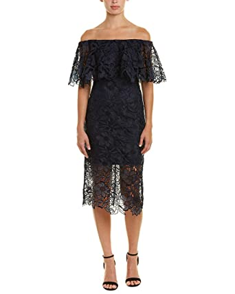 93f876d6a44 Tadashi Shoji Womens Off-The-Shoulder Lace Cocktail Dress Navy 6 at Amazon  Women s Clothing store