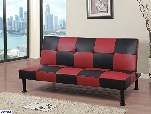 Beverly Fine Furniture Checkered Futon Sofa Bed, 64 x 39 x 14.5-30.5 H, Black