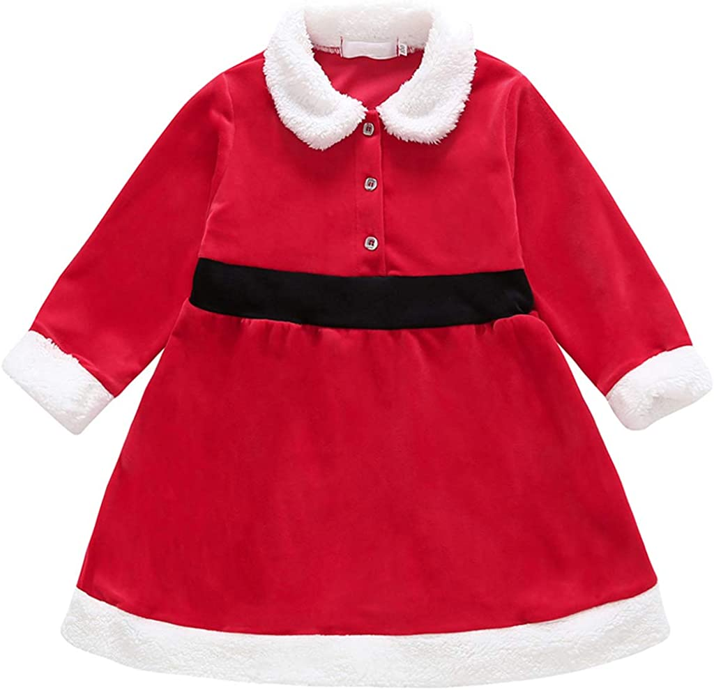 Toddler Baby Girl Christmas Outfits Kids Long Sleeve Ruffle Princess Fall Dress Plaid Overall Checked Skirt Infant (4-5 Years, Christmas Red)