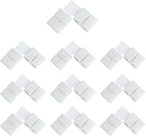 LightingWill 10pcs Pack L Shape Solderless Snap Down 2Conductor LED Strip Connector for Right Angle Corner or 90 Degree Connection of 8mm Wide 3528 2835 Single Color Flex LED Strips