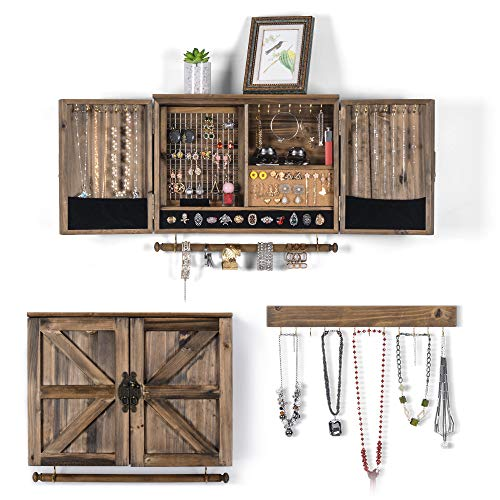 Sunix Rustic Jewelry Organizer Wall Mounted Jewelry Holder with Wooden Barn Door for Necklaces Earings Bracelets Ring Holder with Removable Bracelet Rod Includes Hook Organizer for Hanging Jewelry