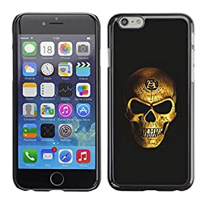 Ihec Tech Bling del oro del cráneo de la Muerte Negro Vicious / Funda Case back Cover guard / for Apple Iphone 6 Plus 5.5