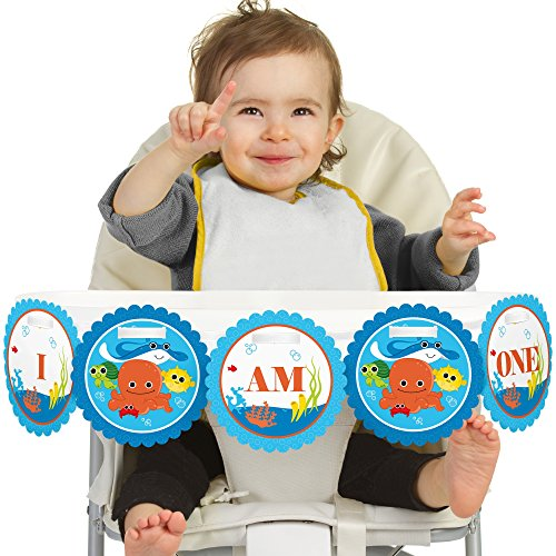 Big Dot of Happiness Under The Sea Critters 1st Birthday - I Am One - First Birthday High Chair Banner