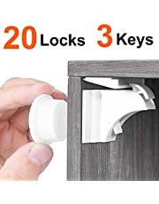 20 Pack Baby Safety Child Proof Magnetic Locks with 3 Keys for Cabinet Cupboard Drawer Wood Doors