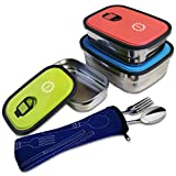 SunCraft Stainless Steel Bento Lunch Boxes - Set of 3 - Leak Proof BPA Free Food Storage Containers - Fork and Spoon Travel Silverware Set Included - Great for Adults and Kids