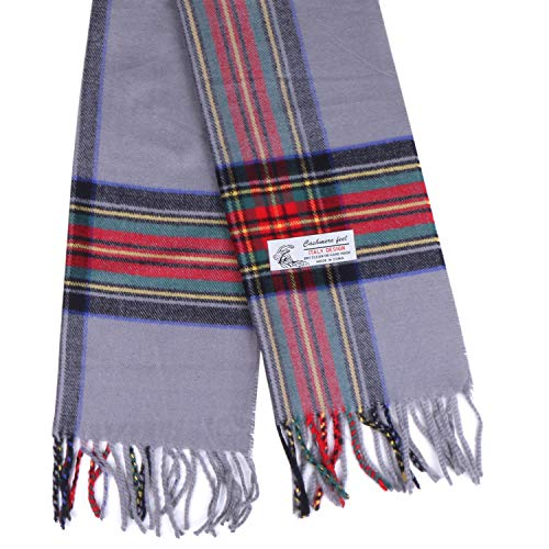 (Plaid Cashmere Feel Classic Soft Luxurious Winter Scarf For Men Women (Tartan Gray))