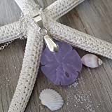 Handmade in Hawaii, purple sand dollar sea glass necklace, sterling silver chain,gift box, princess gift, birthday gift, sea glass jewelry, beach glass jewelry.