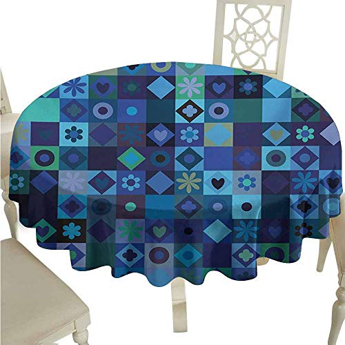 (duommhome Indigo Oil-Proof Tablecloth Play Cards Inspired Hearts Circles Squares Flower Modern Image Easy Care D71 Blue Fren Green Black and Purple)