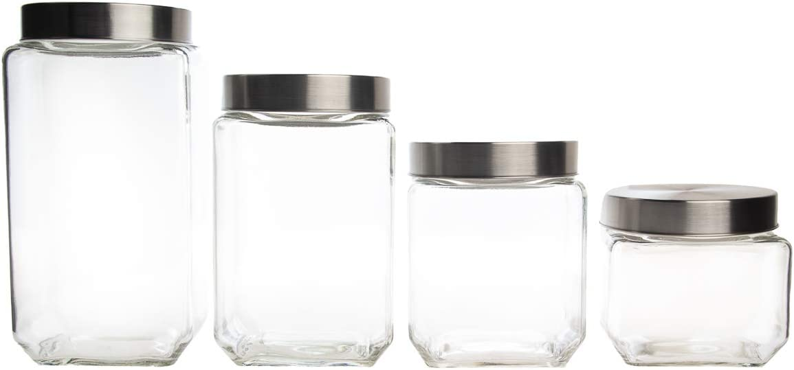 Farberware Set of 4 Variety Size Glass Canister Food Storage Container with Stainless Steel Airtight Lids – Beans Cereal Coffee Rice Flour Candy Sugar & More