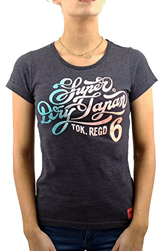 Superdry Damen T-Shirt Blau Eclipse Navy Marl