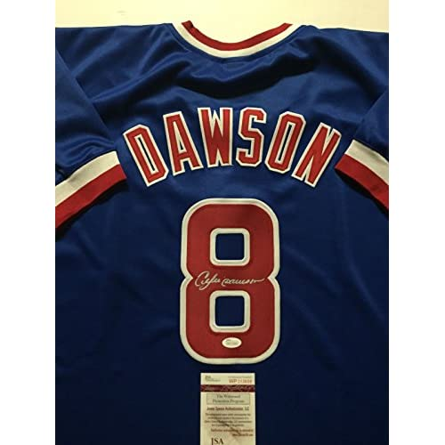 super popular 6e788 6c319 Autographed/Signed Andre Dawson Chicago Cubs Blue Baseball ...