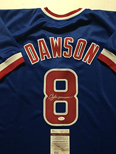 Andre Dawson Autographed Baseball (Autographed/Signed Andre Dawson Chicago Cubs Blue Baseball Jersey JSA COA)