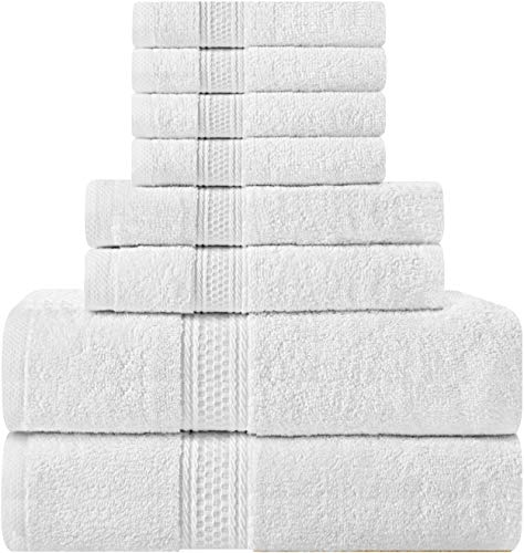 Utopia Towels 8 Piece Towel Set, White, 2 Bath Towels, 2 Hand Towels, and 4 - Room Piece Collection 4
