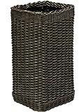 KOUBOO 1060068 Wicker Umbrella Stand with Water Catch, 10'' x 10'' x 20'', Dark Brown Expresso