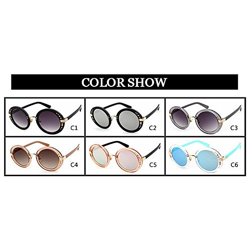 de C3 Sol C3 de Gafas Gu Vacaciones de Protección Decoración de Remaches UV Conducir Marco Mujer Verano Color Peggy para Playa Completo Redondo UzqBUxn