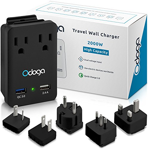 Odoga World Travel Adapter Kit – 2 Powerful 2000W AC Outlets – Quick Charge 3.0 & 2.4A USB Ports – Comes with Universal Travel Adapters For Europe, UK, China, Australia, Japan & More