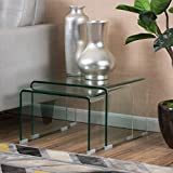 GDF Studio Angel 12mm Tempered Glass Nesting Tables