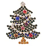 ACCESSORIESFOREVER Christmas Jewelry Crystal Rhinestone Sparkle Tree Fashion Brooch Pin BH114 Green