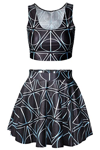 Pink Queen Black Geometric Patterns 3D Printing Crop Tank Top Mini Skirts Suit]()