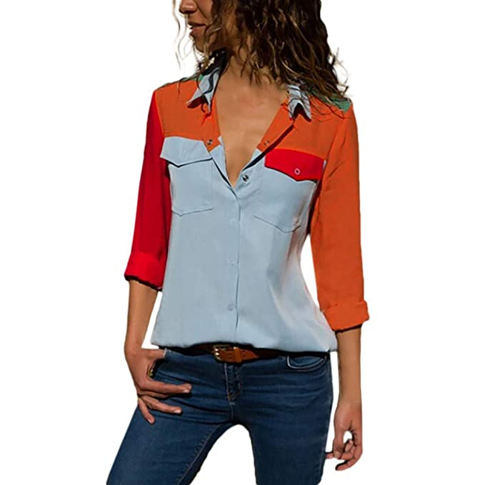 PANY Mujeres Manga Larga Casual Botón de Bolsillos de Bloque de Color Camisetas Tops Blusa Camisa