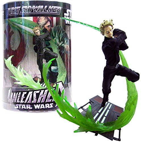 Hasbro Year 2006 Star Wars Unleashed Series 7 Inch Tall Action Figure - Jedi Knight LUKE SKYWALKER in Black Outfit with Green Lightsaber and Display Base