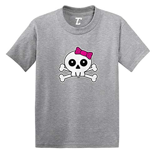 Skull with Pink Bow - Crossbones Infant/Toddler Cotton Jersey T-Shirt (Light Gray, 12 -