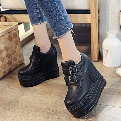 Otoño white Con GTVERNH 12Cm En Super Heels Mayor Zapatos Pendiente Fondo Grueso Zapatos Zapatos High Ocio El 56axT6rq