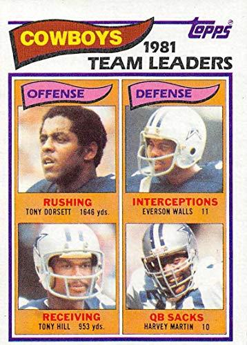 (1982 Topps Football #307 Tony Dorsett/Everson Walls/Tony Hill/Harvey Martin Dallas Cowboys TL)