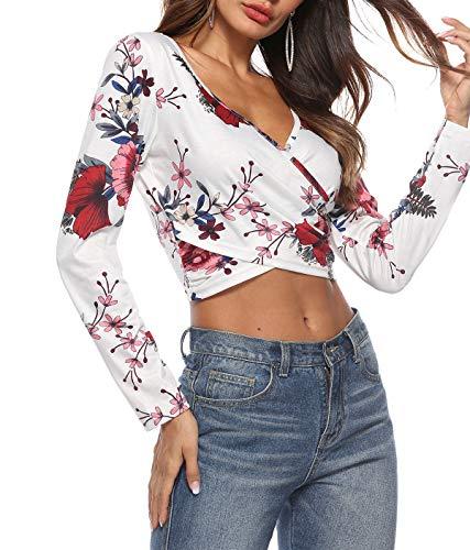 Tops V Slim Crop Tees T Longues Chemisiers Col Femmes Jumpers Mode Printemps Imprime Shirt Hauts Blouses Blanc Automne Manches wxnqCOIYX