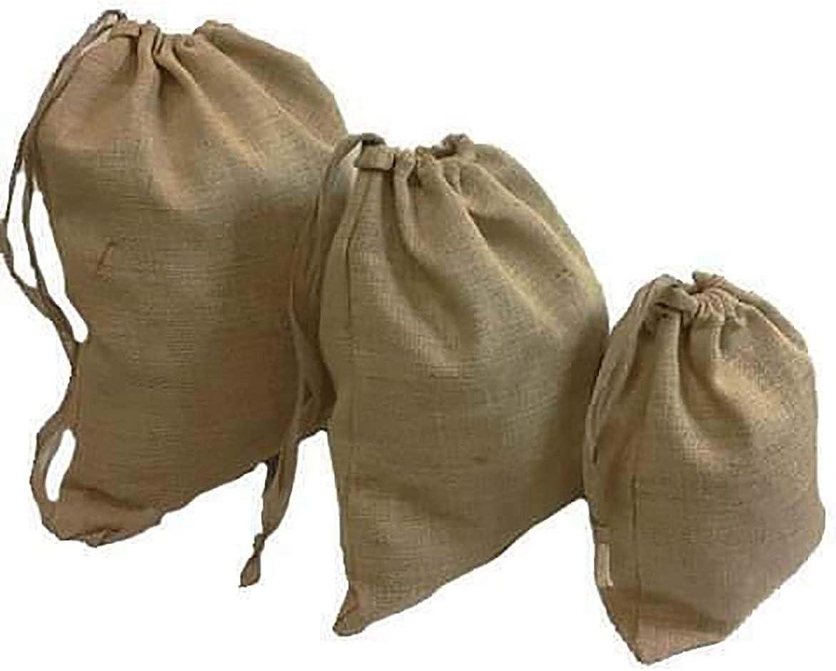 3 Sizes CL BATTLESUPPLIES Medieval-LARP-SCA Burlap Jute Hessian Drawstring Bags Potato Vegetable Storage Sack Bag