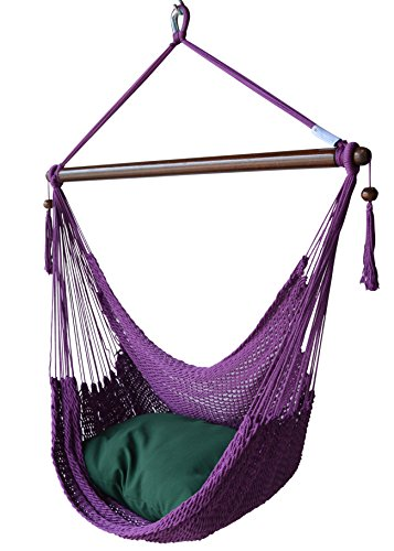 Cheap Caribbean Hammocks Chair with Footrest – 40 inch – Soft-Spun Polyester – (Purple)