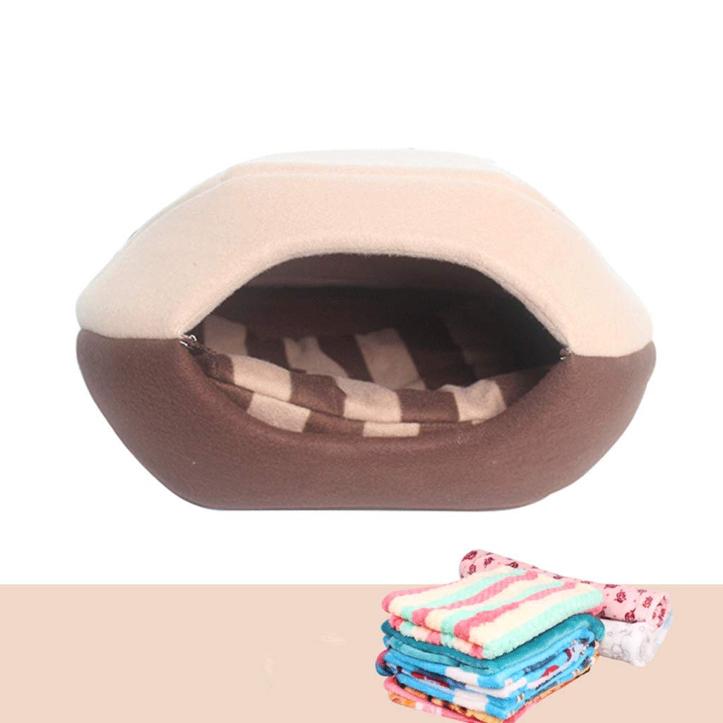 BROWN 51x43x37cm BROWN 51x43x37cm Pet Bed Cat Litter semi-Closed Winter Thick Warm Non-Fading pet House Living Room Bedroom Balcony Universal Kennel A+ (color   Brown, Size   51x43x37cm)