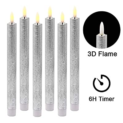 Wondise Flameless Taper Candles Battery Operated with 6 Hour Timer, Silver Coating Real Wax 3D Wick LED Flickering Taper Candles Warm Light Christmas Home Decoration(Set of 6, 0.78 x 9.64 Inches): Home Audio & Theater
