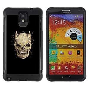 ZAKO CASE - Los cuernos huesos cráneo diablo Horror Muerte - Samsung Note 3 - Funda Carcasa Bumper con Absorción de Impactos Slim Rugged Armor -
