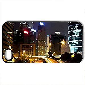 driving at night - Case Cover for iPhone 4 and 4s (Modern Series, Watercolor style, Black)