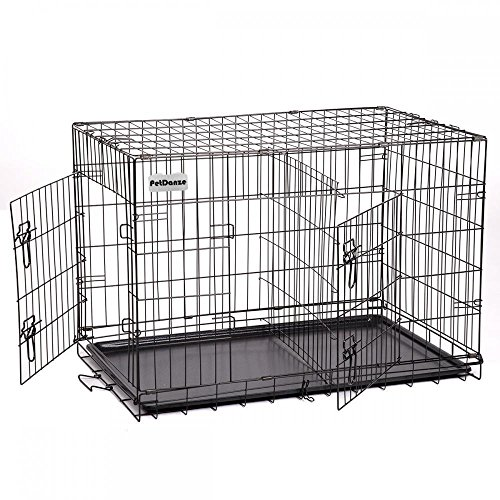 PetDanze Extra Large Dog Kennels | XXL Pet Carrier Travel Cage | Indoor Outdoor Outside Collapsible Portable Folding Wire Metal Crate | Double-Doors with Divider and Tray | 48x30x32 inches (LxWxH)