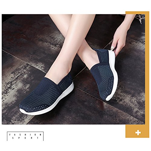 Casual Breathable Shoes Outdoor Tisomen Trainer Slip Flat Light Air Sneakers Athletic Mesh Running Gym Walking Blue Sports Lightweight On Fitness Womens 1Awqz1v