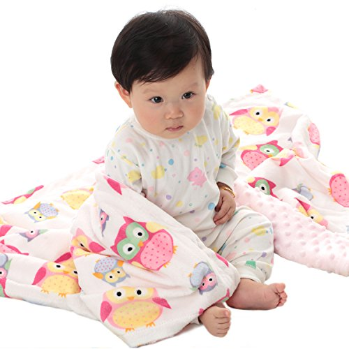 (Boritar Baby Blanket Soft Minky with Double Layer Dotted Backing, Lovely Pink Owls Printed 30