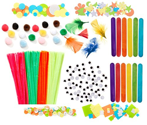 644 Piece Art and Crafts Mega Pack- Pom Poms, Feathers, Pipe Cleaners, Sequins, Jumbo Colored Popsicle Sticks, and Googly Eyes by Nikki's Knick Knacks