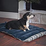 PETMAKER Roll Up Travel Portable Dog Bed, Blue Stripe