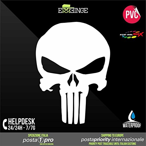 [ERREINGE] STICKER PRE-SPACED BLANC 10cm - Punisher Crâne Skull JDM DUB Illest Vw Hoonigan Tuning Racing Drift - Autocollant Decal Transfer Vinyle Muraux Laptop Voiture Moto Casque Scooter Camper