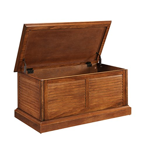 Wooden Storage Trunk Table - Lift Top w/Soft Close Hinges - Louvered Details (Coffee Table)